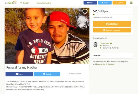 A GoFundMe Page was created to raise money for Alfredo Vasquez's funeral expenses. Vasquez was found dead in a creek in San Patricio County near Portland on Tuesday, May 14, 2019.