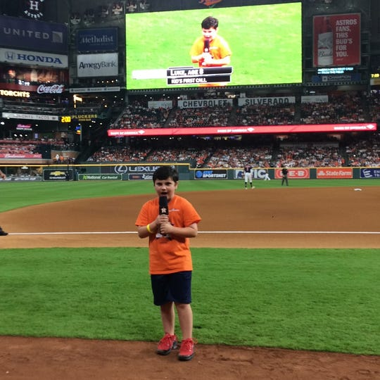 "Luke Lamb says ""Play Ball!"" at Houston Astros game on May 11."