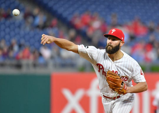 May 15, 2019; Philadelphia, PA, USA; Philadelphia Phillies starting pitcher Jake Arrieta (49) throws a pitch during the first inning against the Milwaukee Brewers at Citizens Bank Park. Mandatory Credit: Eric Hartline-USA TODAY Sports