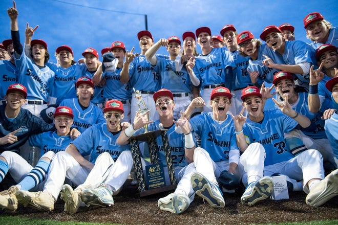 Members of the Shawnee High School baseball team celebrate with their trophy after defeating Haddonfield, 2-0, in the Diamond Classic final played at Eastern High School in Voorhees on Wednesday, May 15, 2019.