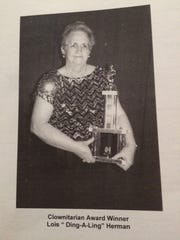 Lois Herman won an award for her work from the Mid-Atlantic Clown Association in 2004.