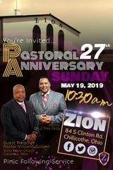 A flyer for the 27th pastoral anniversary event on Sunday, May 19.