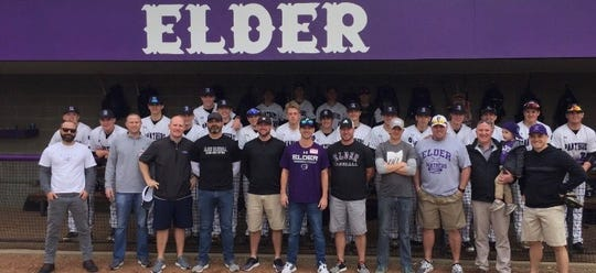 The 1999 Elder baseball team met with this year's club on April 6, 2019 to honor the 20-year anniversary of its Division I state championship.