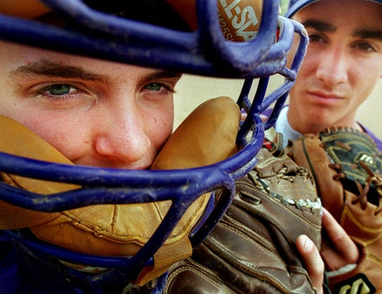 JUNE 3, 1999: Elder's baseball players, catcher Aaron Brown, left, and second baseman Steve Witterstaetter, right, will  went for a record 11th state title.