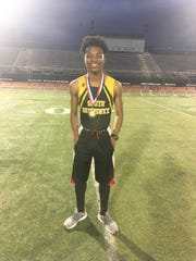 South Brunswick Malcolm Yarber after he captured the 110 hurdles and the Vikings won the team title at the 2019 GMC Championships.