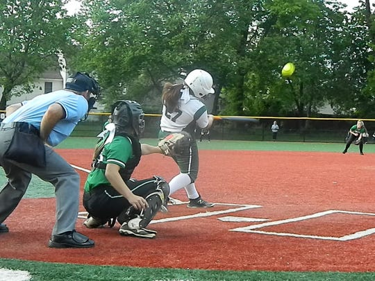 J.F. Kennedy's Jenny Gordon bats against South Plainfield during the GMC Tournament semifinals on Wednesday, May 15, 2019.