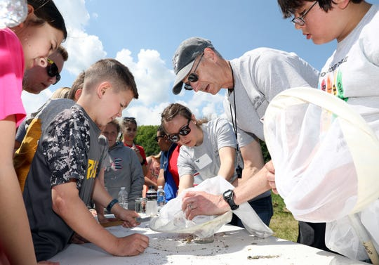 Tim Lohner shows a group of students from Nashport Elementary School some insects during AEP Conesville's outdoor educational event on Wednesday.
