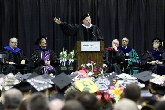 Coach Daniel Dean Hughes addresses the Class of 2019 as the principal speaker for undergraduate commencement ceremonies recently at Muskingum University.