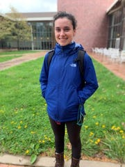 Mary Rose Bernal, outside of Grinnell College's Joe Rosenfield Center, Grinnell's main student center, which includes classrooms, study spaces and the Dining Hall. Photo taken in spring 2019.
