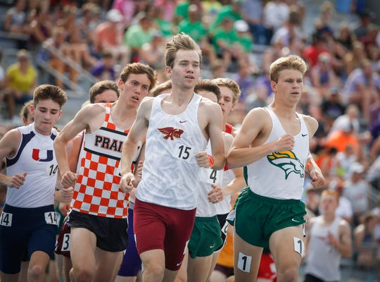 Ankeny senior Tim Sindt moves to the front of the pack in the Class 4A 3,200-meter run during the 2019 Iowa high school track and field state championships at Drake Stadium in Des Moines on Thursday, May 16, 2019.