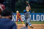 Drake pitcher Nicole Newman fires a pitch during a game this season.