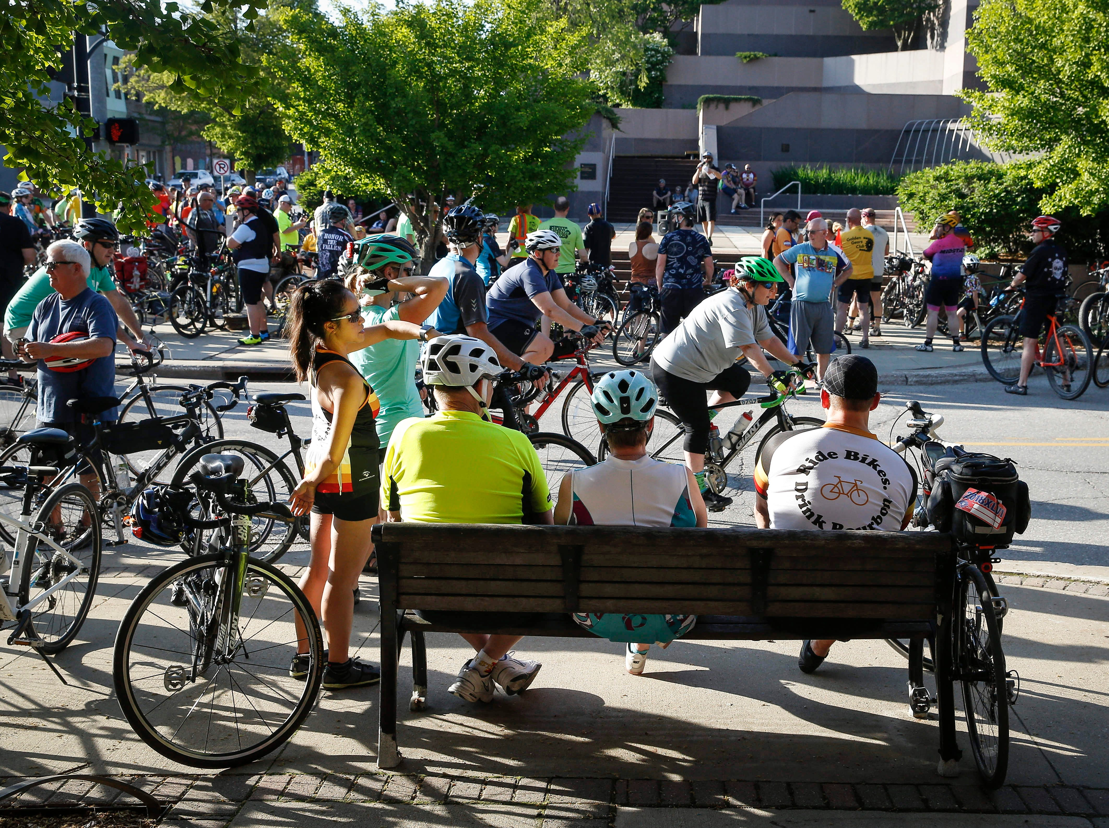 Hundreds of cyclists gathered in downtown Des Moines on Wednesday, May 15, 2019, to pay tribute to the cyclists killed or injured. The 15th annual Ride of Silence proceeded from the East Village to downtown and ended at the State Capitol Grounds.