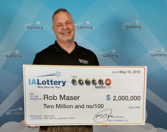 Robert Maser claimed a $2 million Powerball prize Thursday, May 16, 2019, at Iowa Lottery headquarters in Clive.