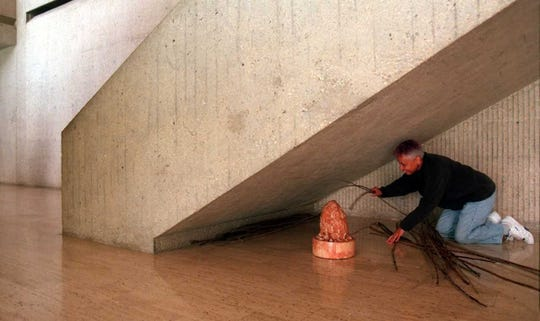 A view of a concrete staircase in the I.M. Pei-designed segment of the Des Moines Art Center.