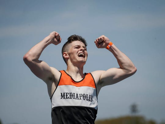 Mediapolis senior Jagger Gourley reacts after winning the Class 2A 400-meter dash during the 2019 Iowa high school track and field state championships at Drake Stadium in Des Moines on Thursday, May 16, 2019.