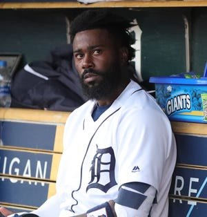 Detroit Tigers second baseman Josh Harrison in the dugout during action against the Houston Astros, Wednesday, May 15, 2019 at Comerica Park.