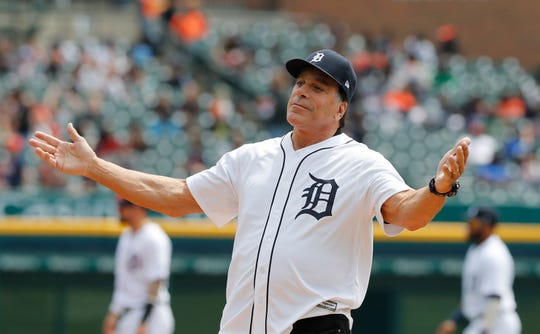 Actor Lou Ferrigno reacts after throwing out the ceremonial first pitch before a baseball game between the Tigers and the Athletics on Thursday, May 16, 2019, at Comerica Park.