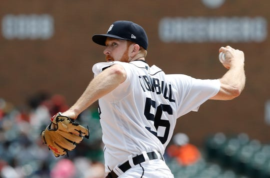 Tigers pitcher Spencer Turnbull throws during the first inning against the Oakland Athletics on Thursday, May 16, 2019, at Comerica Park.