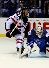 Finland goalie Kevin Lankinen makes a save on Red Wings forward  Anthony Mantha of Canada during the World Championship Group A game at Steel Arena on May 10, 2019, in Kosice, Slovakia.