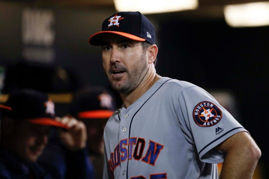 Justin Verlander in a dugout during the seventh inning at Komerik Park on Wednesday.