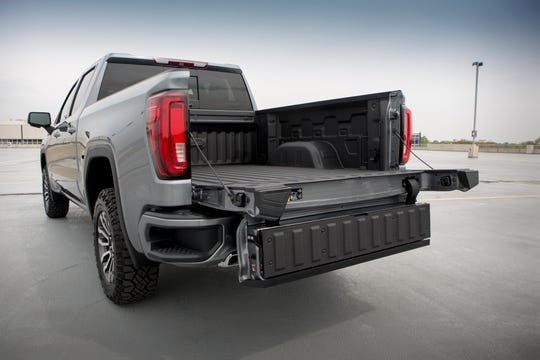 The GMC Sierra MultiPro tailgate can fold in half while open to give extra reach into the bed, seen here at the GM Vehicle Engineering Center in Warren., Mich., Thursday, May 16,  2019.