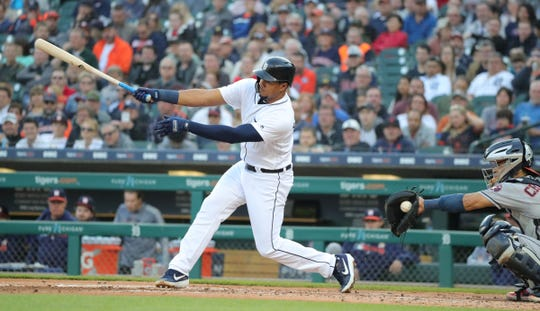 Detroit Tigers' Jeimer Candelario swings at a strike during the second inning against the Houston Astros, Wednesday, May 15, 2019 at Comerica Park.