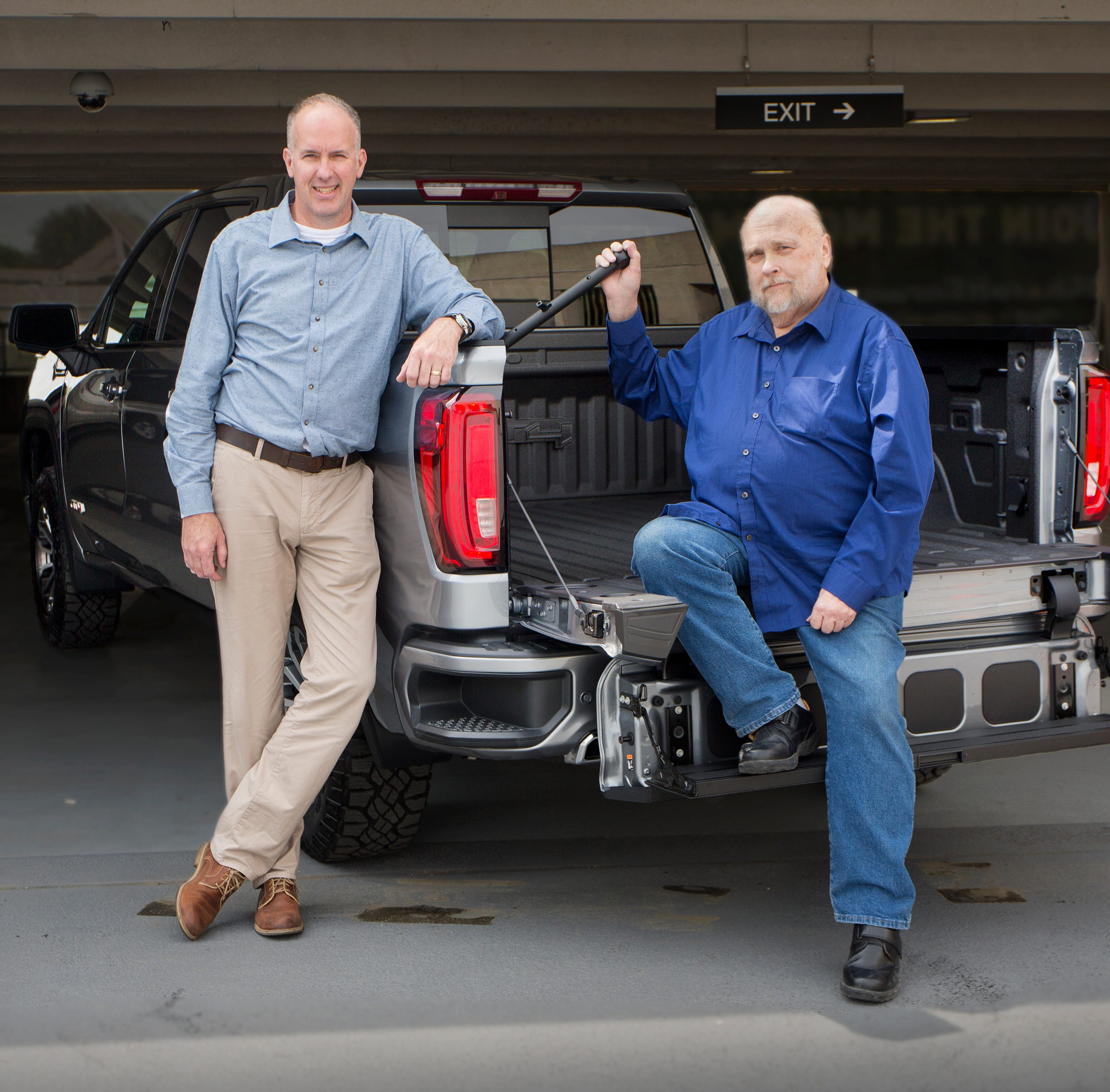 L to R:  Derek Patterson, lead integration engineer for Multipro System and Jim Gobart, engineering technician both worked to create the GMC Sierra MultiPro tailgate, seen here at the GM Vehicle Engineering Center in Warren., Mich., Thursday, May 16,  2019. The concept began with the two men talking to workers about what they want and need in a truck.