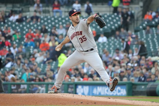 Justin Verlander pitches against the Tigers during the first inning Wednesday, at Comerica Park.
