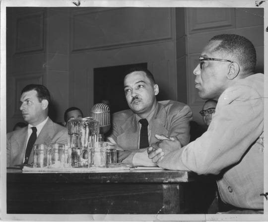 Photo of future Detroit Mayor Coleman Young taken in Detroit  in 1952 at a session of the House Committee on Un-American Activities.