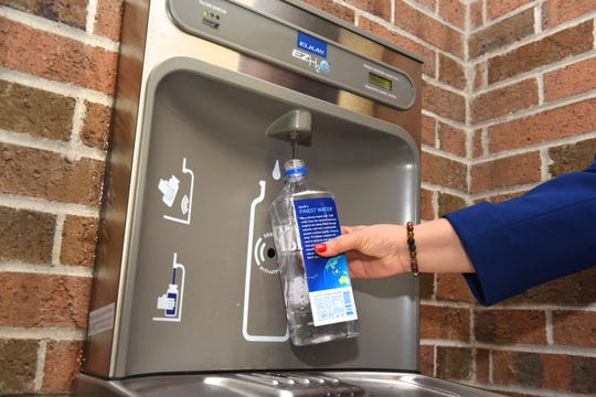 Water bottles can be filled at one of the new hydration stations inside the Herman A. Breithaupt Career and Technical Center in Detroit.