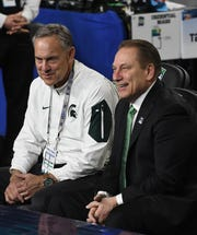 """Michigan State athletic director Bill Beekman says he's always thinking about a """"Plan B"""" if either football coach Mark Dantonio (left) or basketball coach Tom Izzo (right) leave."""