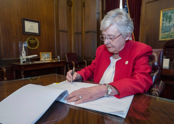 Alabama Gov. Kay Ivey signing a bill that virtually outlaws abortion in the state on Wednesday, May 15, 2019, in Montgomery, Ala.