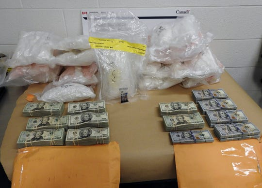 Twenty-three packages of methamphetamine and two envelopes with $126,000 were seized May 2, 2019, by Canadian authorities at the Blue Water Bridge, in Point Edward, Ontario.