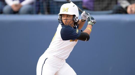 Lexie Blair, recently named a unanimous All-Big Ten first-team and All-Freshman team selection, leads Michigan with a .424 batting average that ranks third in the conference. She has a team-best 75 hits, with 21 doubles and 53 runs batted in.