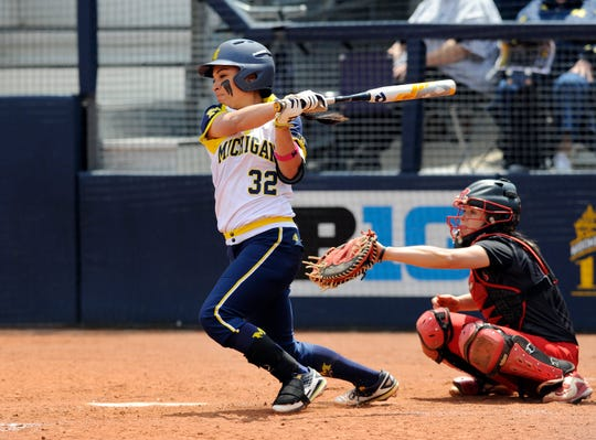 Michigan softball second baseman Sierra Romero hits into a fielders choice in the bottom of the fourth inning against Rutgers at the Wilpon Complex in Ann Arbor in 2016.