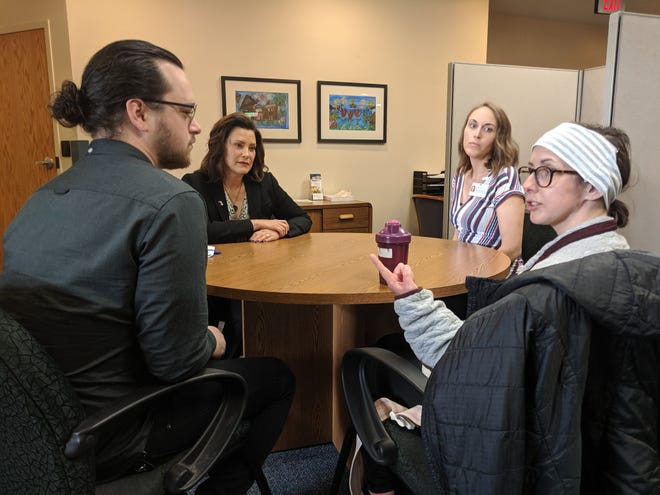 Michigan Gov. Gretchen Whitmer meets with Angela and Ryne Weber at  Hope Network Neuro Rehab in East Lansing.
