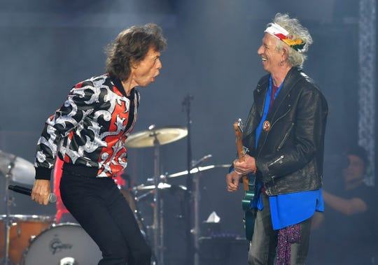 In this May 25, 2018 file photo, Mick Jagger, left, and Keith Richards, of The Rolling Stones, perform during their No Filter tour in London.