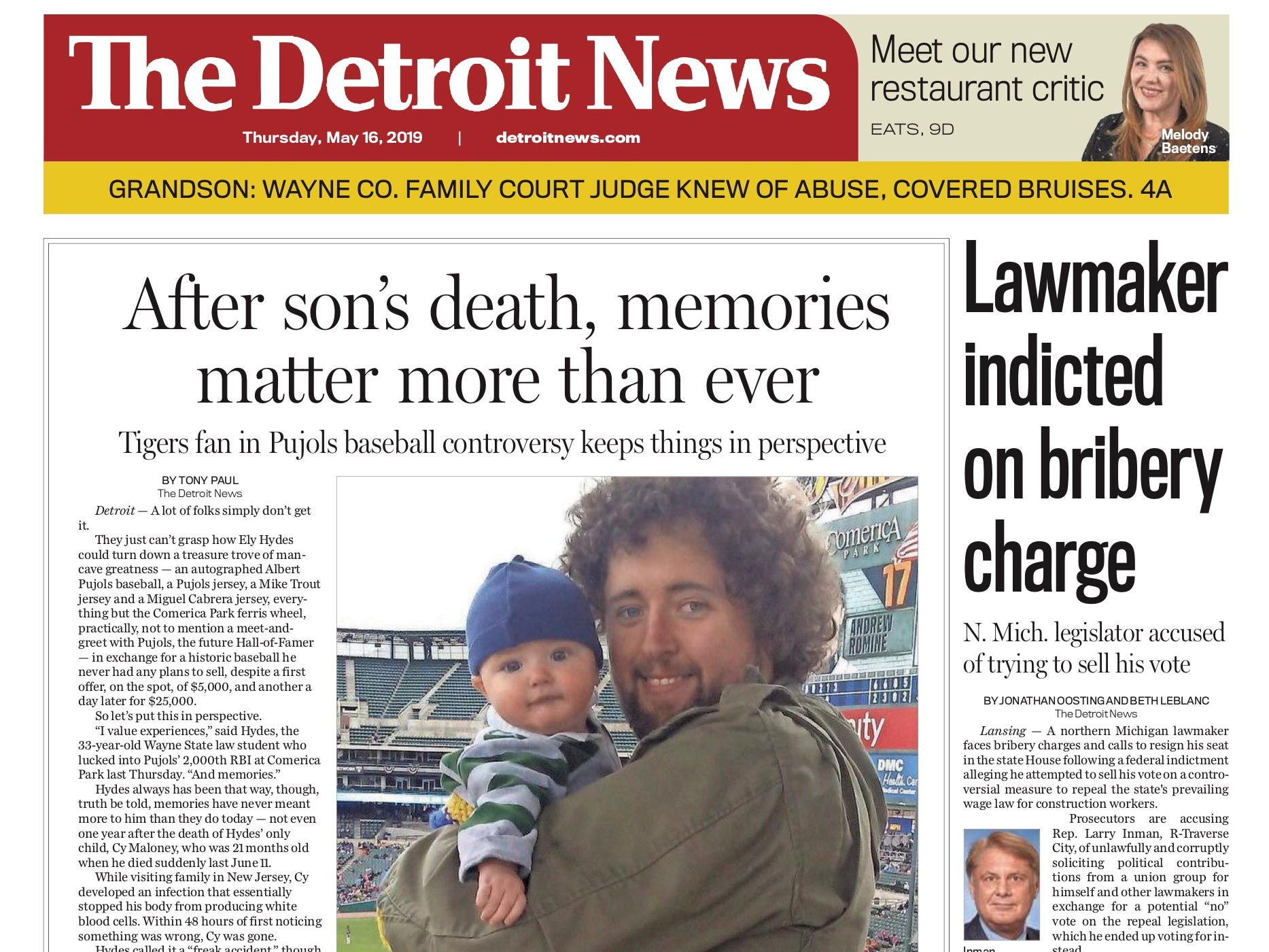 The front page of the Detroit News on May 16, 2019