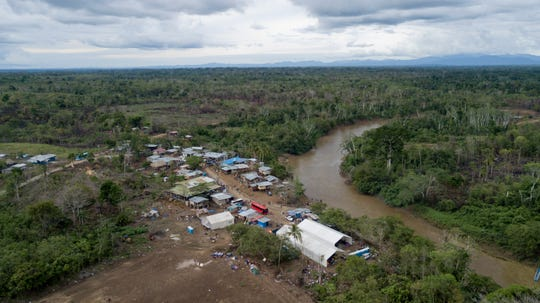 This May 10, 2019 photo, shows the indigenous village of Peaitas, Darien Province, Panama.