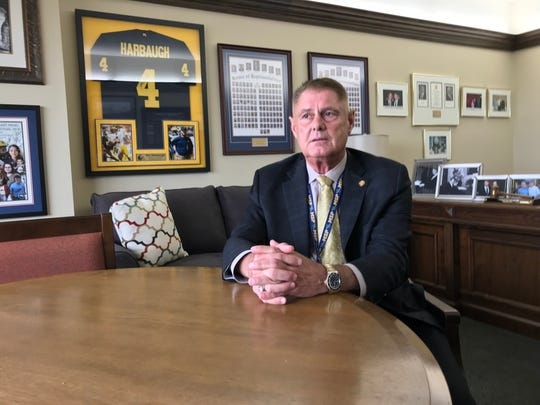 Rep. Larry Inman, R-Traverse City, discusses his recent indictment on bribery charges inside his Lansing office.