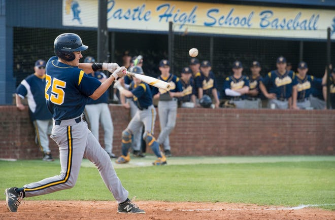 Castle's Jon Lawson (25) swings the bat during the SIAC Castle Knights vs Memorial Tigers baseball game in Newburgh, Ind. Wednesday, May 15, 2019.