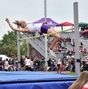 Fort Collins High School's Brooke Naughton clears the bar in the Class 5A girls high jump competition Thursday, May 16, 2019, at the Colorado state track and field championships at Jeffco Stadium in Lakewood.