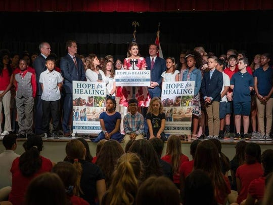 Florida's first lady Casey DeSantis announces her Hope for Healing initiative Thursday, May 5, 2019.
