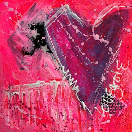 "Leoma Lovegrove has been painting a lot of hearts as part of her ""Pink Period."""