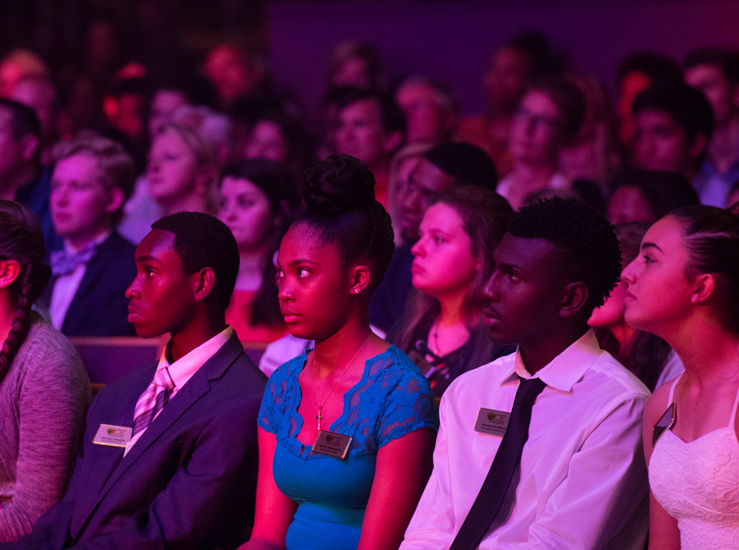 ACE award honorees listen during the keynote speech at the Coaches 4 Character ACE Awards held at Relentless Church Wednesday, May 15, 2019.