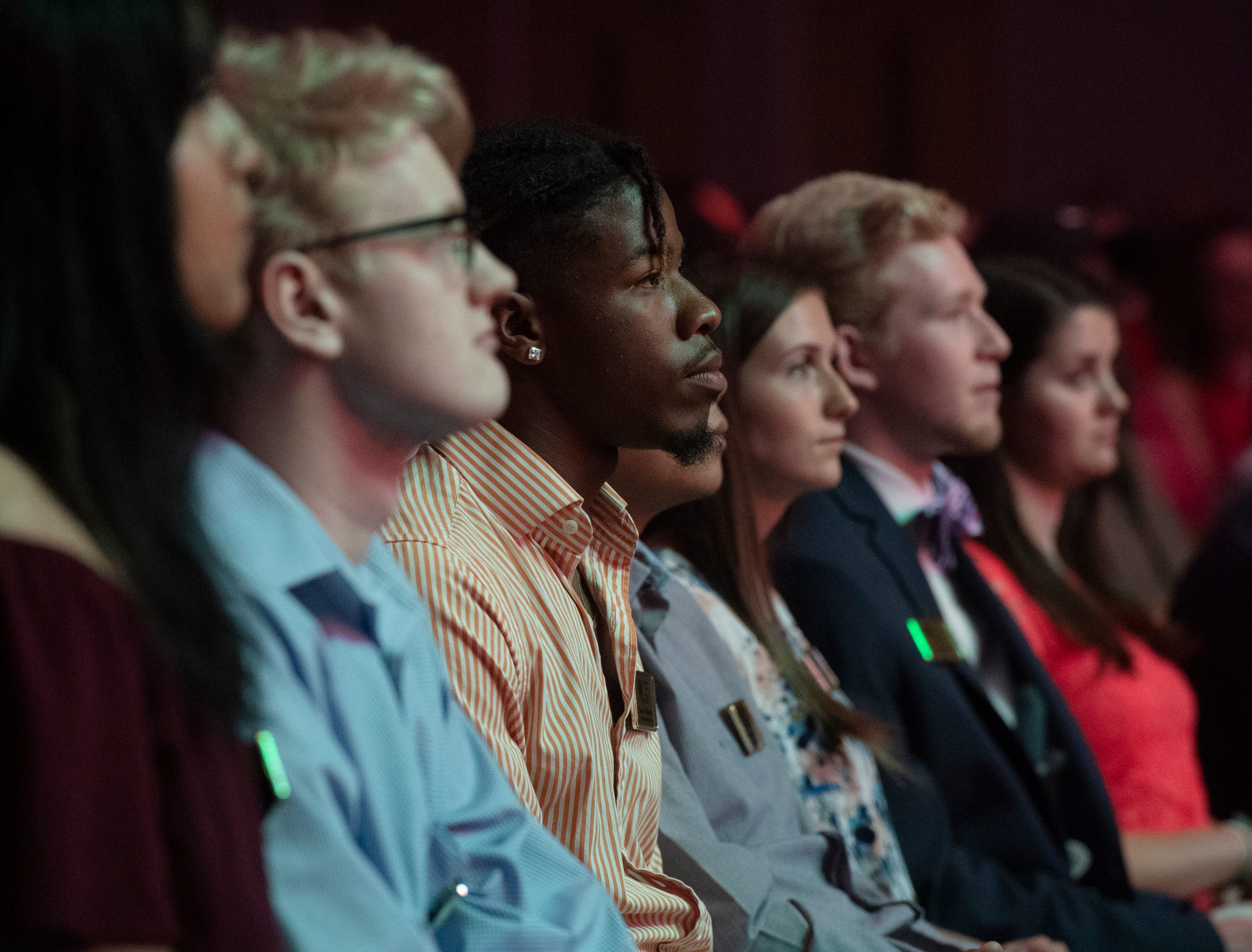 ACE award honorees listen during the Coaches 4 Character ACE Awards held at Relentless Church Wednesday, May 15, 2019.