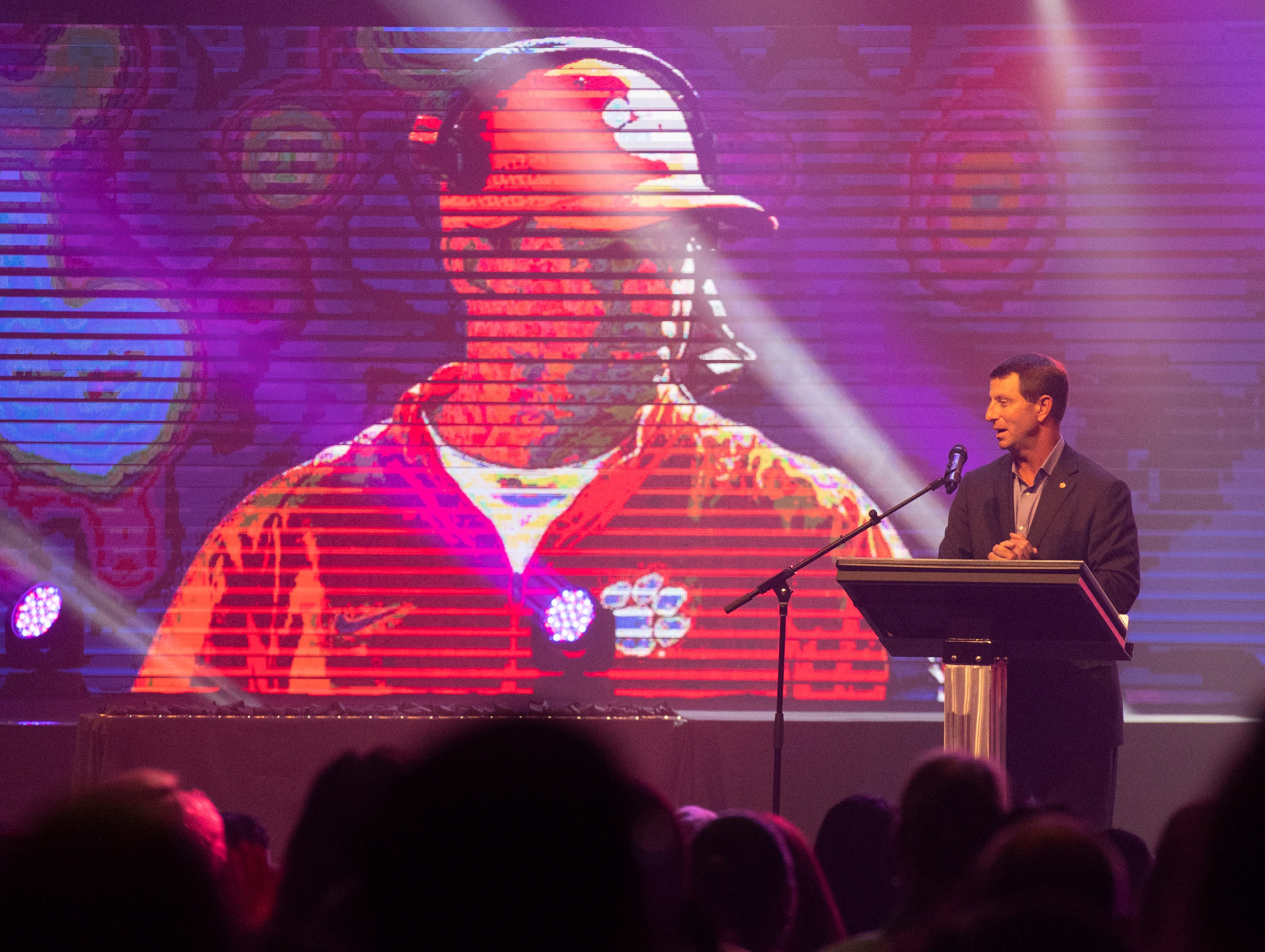 Clemson University football coach Dabo Swinney delivers the keynote speech during the Coaches 4 Character ACE Awards held at Relentless Church Wednesday, May 15, 2019.