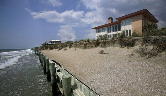 Seawalls like this one at Debordieu Beach near Georgetown protect property, but can worsen beach erosion when pounded by waves. This aging seawall has been at the center of debate about whether the state will allow it to be rebuilt.