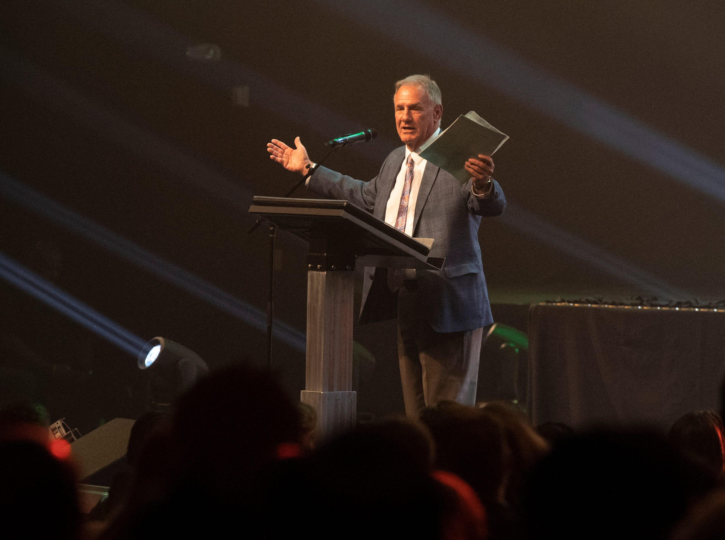Greg Blatt, executive director for Coaches 4 Character, speaks to the crowd gathered for the Coaches 4 Character ACE Awards held at Relentless Church Wednesday, May 15, 2019.