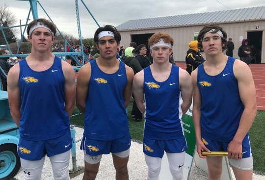 The Great Falls Central boys' 4-by-100 meter relay team was more than a second faster than the runners up. Left to right are Jackson Malsam, Isaac Armstrong, Drew Newman and Shane Girres.